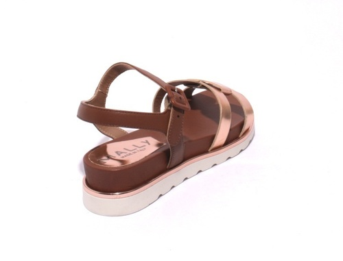 4425e198ed57 Brown   Bronze Leather Ankle Strap Platform Sandals By Mally