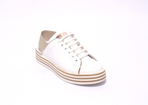 White / Bronze Leather Slingbacks Lace-Up Sneaker Shoes
