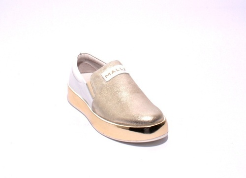 Gold / White Leather / Elastic Platform Loafers Flats