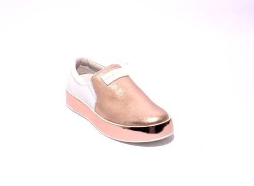 Rose Gold / White Leather / Elastic Platform Loafers Flats