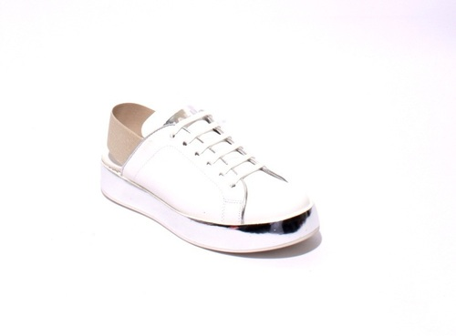 White / Silver Leather Lace-Up Slingbacks Sneaker Shoes