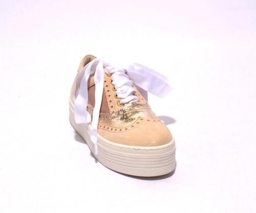 Beige / Gold / White Leather Lace-Up Fashion Sneaker Shoes