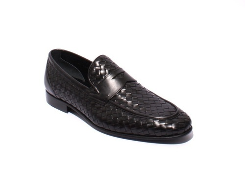 Black Woven Leather Loafers Classic Shoes