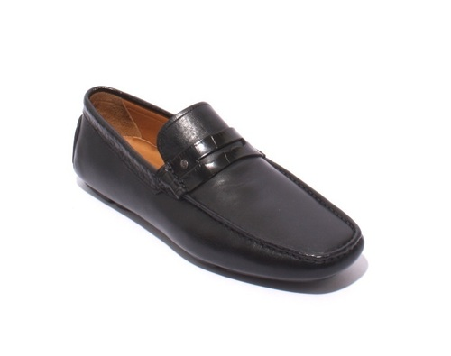 Black Leather Slipper Driver Moccasin Loafers