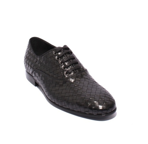 Black Woven Leather Lace-Up Shoes