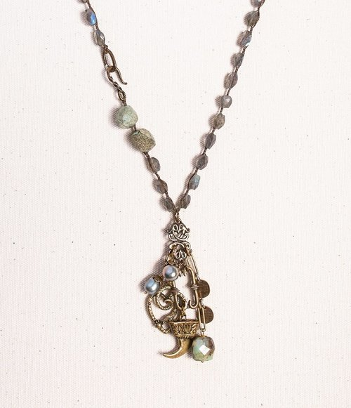 Labradorite necklace with green stone nuggets