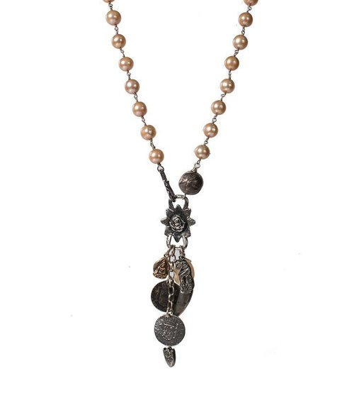 Champagne Pearl necklace with antique charms