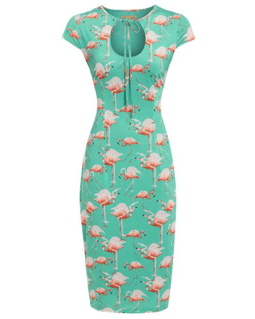 'Sassy' Turquoise Flamingo Print Pencil Dress