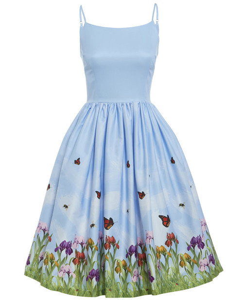 Marlene Blue Iris Print swing dress