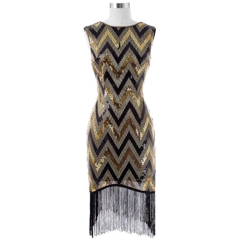 Josephine Gold and Black Flapper Dress