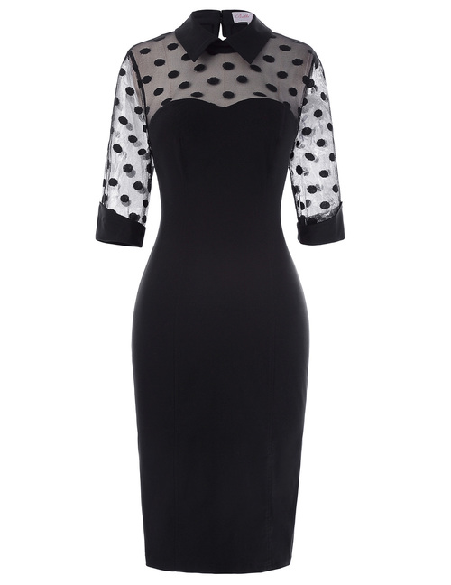 Valentina Dress in sheer polka dot