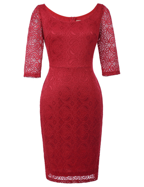Simone Dress in Red stretch lace