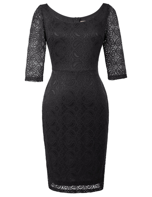 Simone Dress in Black stretch lace