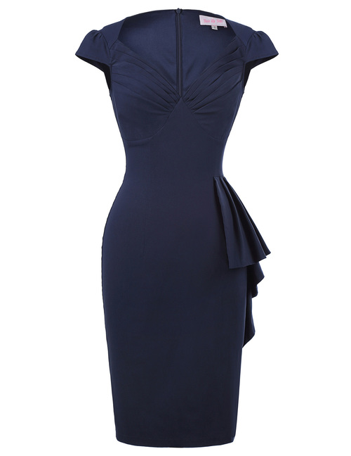 Lilian Dress in Navy Bengaline