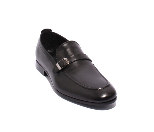 Black Leather Elastic Loafers Shoes