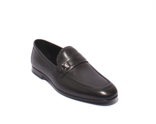 Black Perforated Leather Loafers Shoes