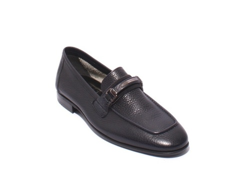 Navy Pebbled Soft Leather Loafers Shoes