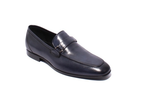 Navy Leather / Elastic Loafers Shoes
