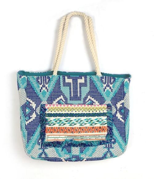Ocean Tribal Fringed Tote Bag With Pocket