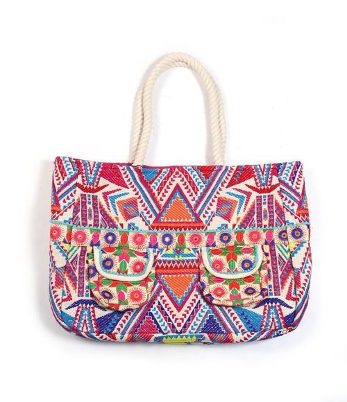 Bright Tribal Tote Bag With 2 Pockets