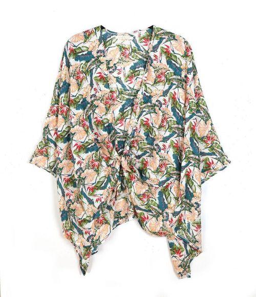 Floral Print Knotted Kimono