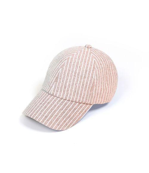 Stripe Linen Baseball Cap Pink