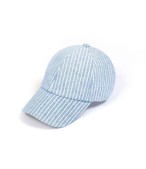 Stripe Linen Baseball Cap Blue