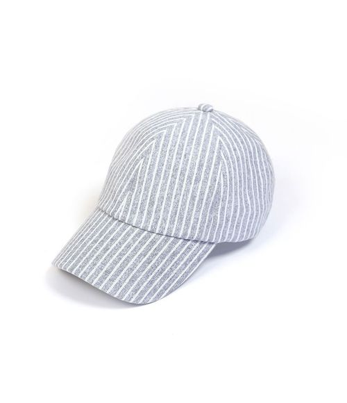 Stripe Linen Baseball Cap Navy