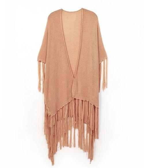 Light Weight Knit Fringe Kimono