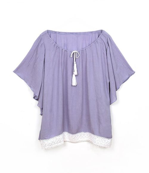 Ruffle Poncho With Tie