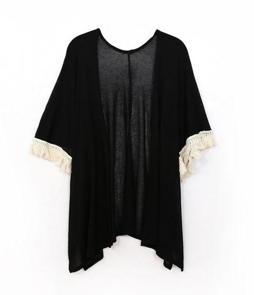 Light Knit Fringe Kimono