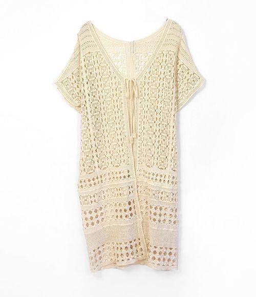 Short Sleeve Crochet Kimono