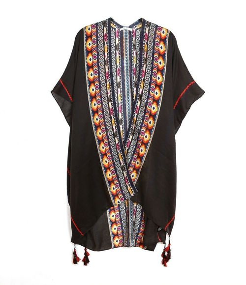 Tribal Print Tassel Kimono