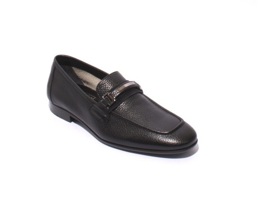 Black Pebbled Soft Leather Loafers Shoes