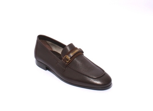 Brown Pebbled Soft Leather Loafers Shoes