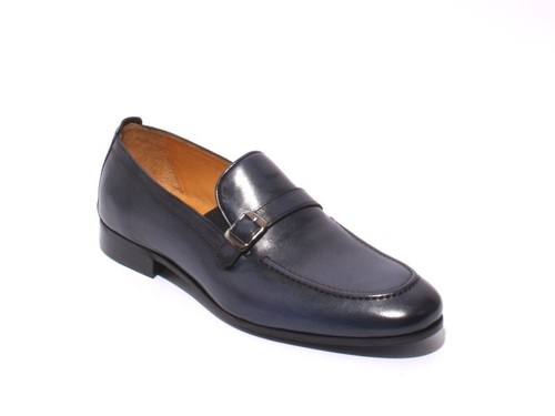 Navy Leather Elastic Loafers Shoes
