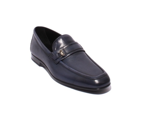 Navy Perforated Leather Loafers Shoes