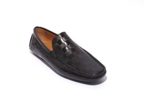 Black Stamped Leather Driver Moccasin Loafers