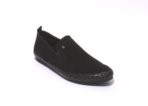 Black Perforated Suede / Woven Leather Slip-On Loafers