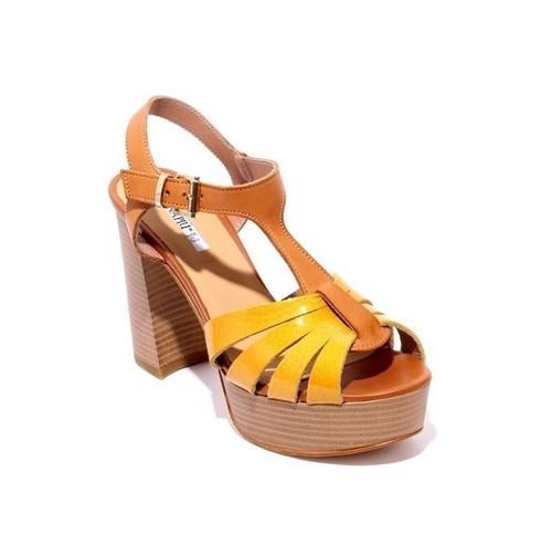 Mustard / Brown Patent / Leather Platform Heel Sandals