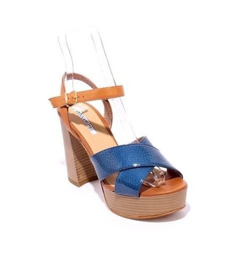Navy / Brown Patent / Leather Platform Heel Sandals
