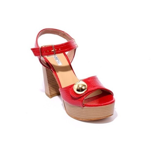Red Patent Leather Platform Ankle Strap Heel Sandals