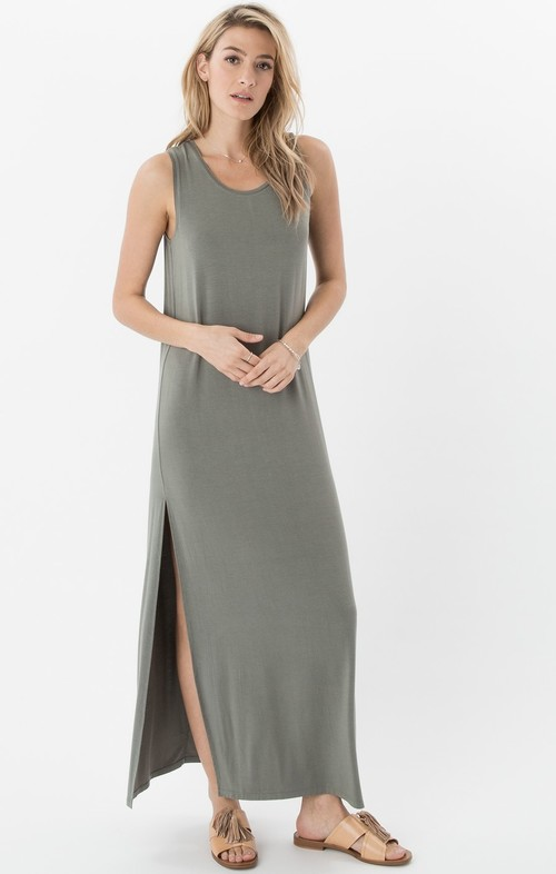 High Slit Maxi Ash Green