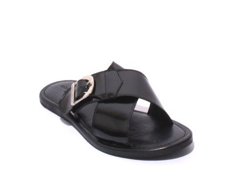 Black Leather Criss Cross Men Sandals