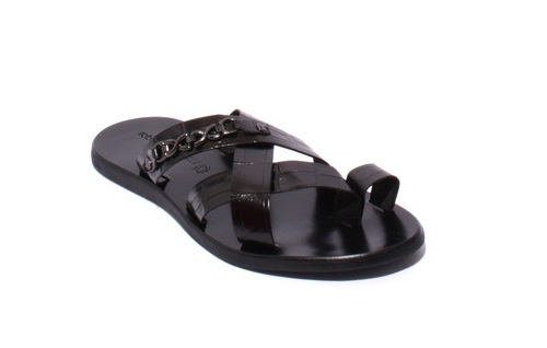 Black Stamped Leather Criss Cross Men Sandals