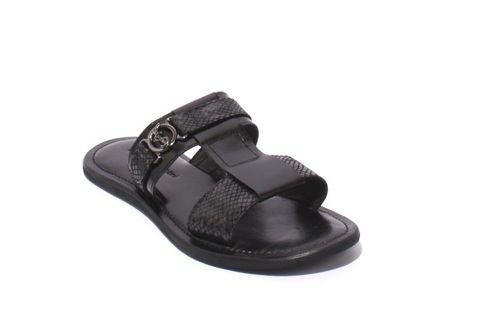 Black / Gray Leather / Stamped Leather Men Sandals