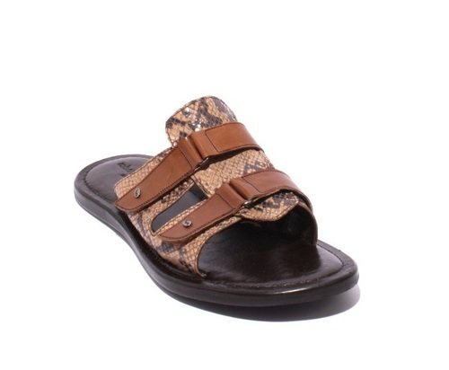Beige / Brown Leather / Stamped Leather Men Sandals