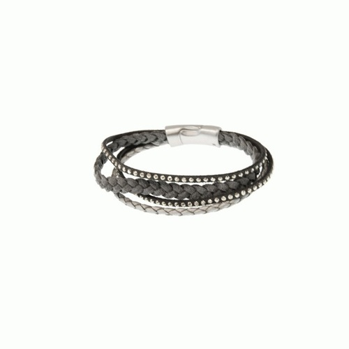 Gray Braided Cord Leather Bracelet