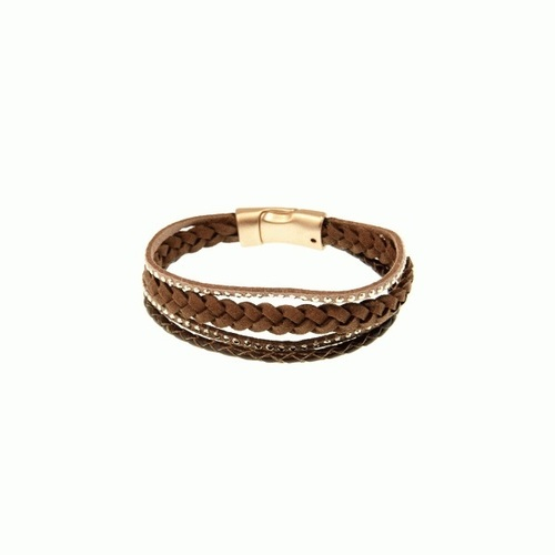 Brown Braided Cord Leather Bracelet