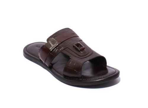 Brown Leather / Stamped Leather Men Sandals